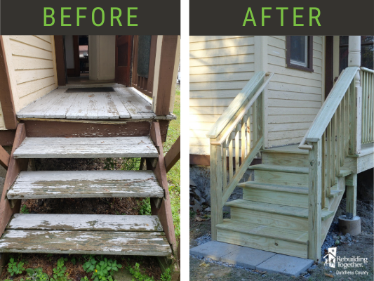 Before and after pictures of the back porch.