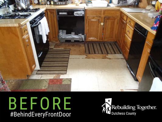 The Baker's kitchen floor before repairs.