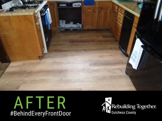 The Baker's kitchen floor after repairs.