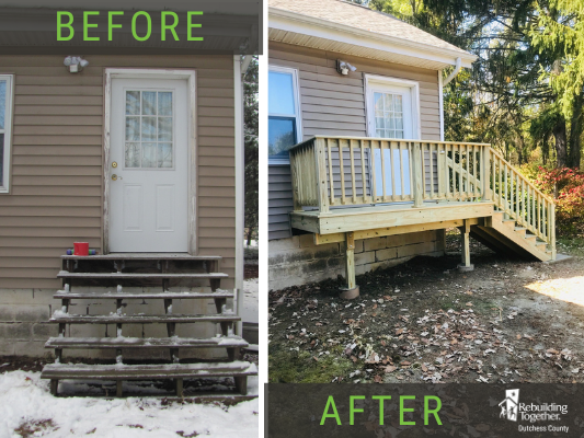 The rear stairs before and after replacement