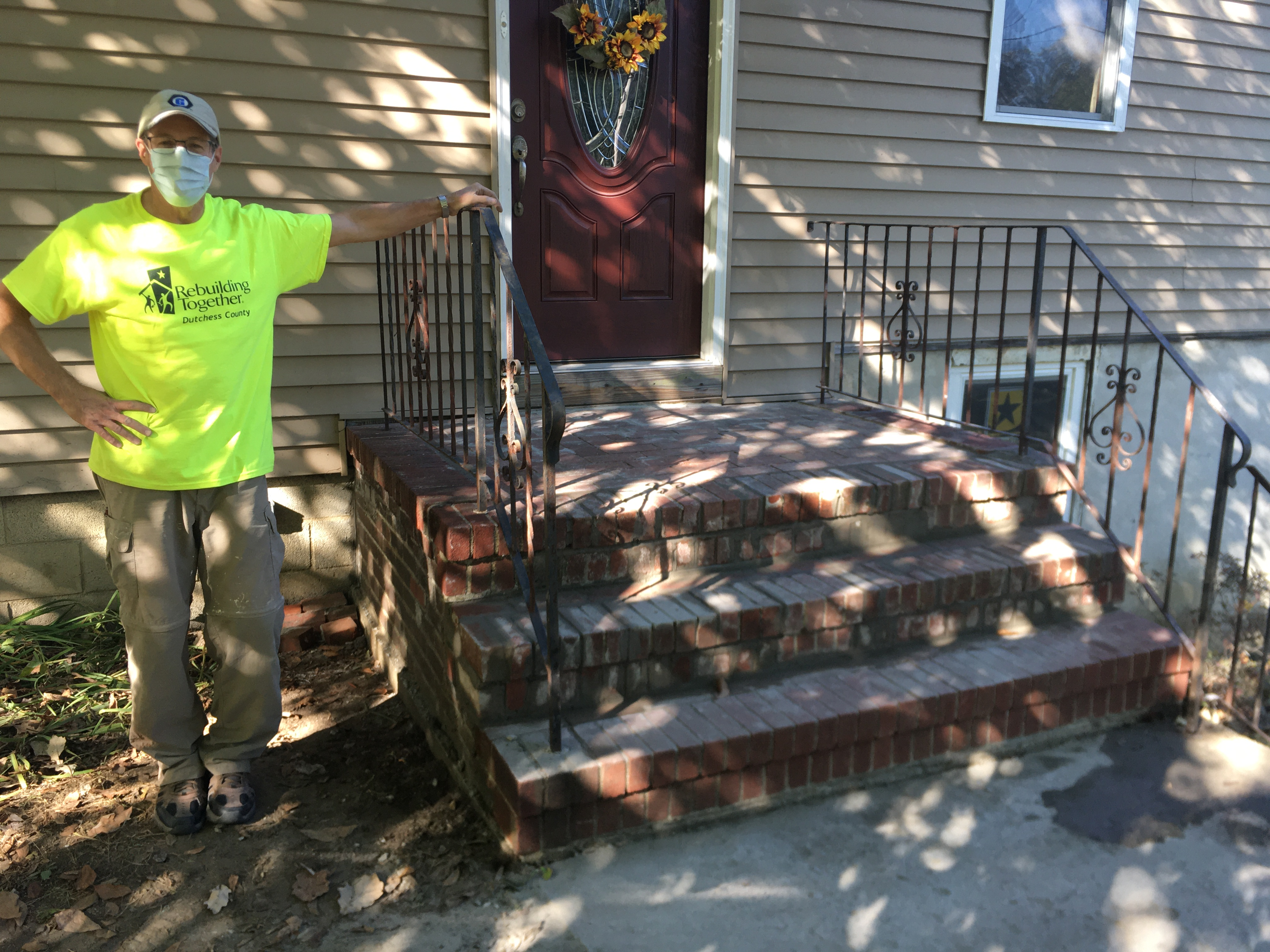 The completed front steps